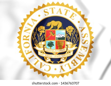 3D Seal of California State Assembly, USA. 3D Illustration.