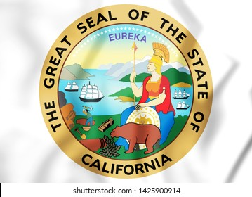 3D Seal of California state, USA. 3D Illustration.