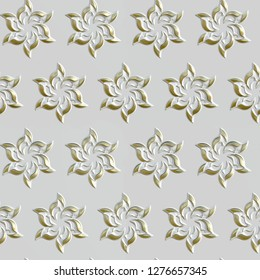 3D seamless gold pattern on white background