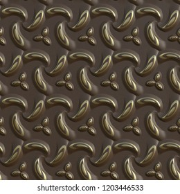 3d seamless pattern with gold elements on brown  leather, 3d render