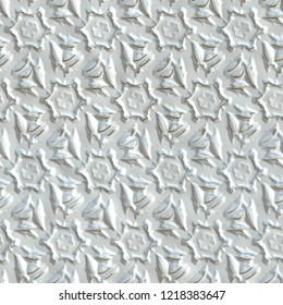 3d seamless pattern with silver elemens on white leather