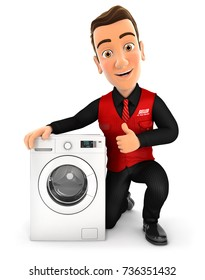 3d seller with washing machine and thumb up, illustration with isolated white background