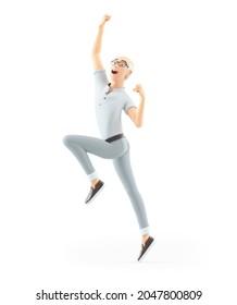 3d senior man jumping for joy, illustration isolated on white background