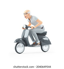 3d senior man riding a scooter, illustration isolated on white background