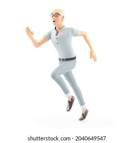 3d senior man running, illustration isolated on white background