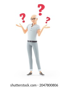 3d senior man with several questions, illustration isolated on white background