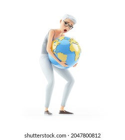 3d senior woman lifting heavy earth, illustration isolated on white background