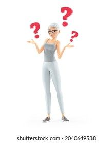 3d senior woman with several questions, illustration isolated on white background