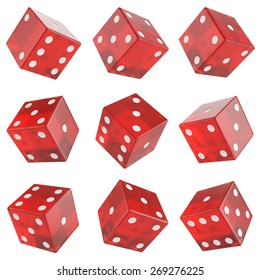 3d set red glass dice isolated on white background.