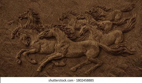 3d Seven Horses Running Emboos Fusion Art On Wall 3d Illustration Wallpaper Design