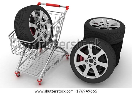 3 D Shopping Cart Wheels Conception Purchase Stock Illustration