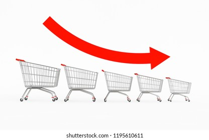 3D shopping trolleys that are getting smaller with a red arrow that goes down on a white background. Concept of commerce that increasingly sells less. 3D Rendering.