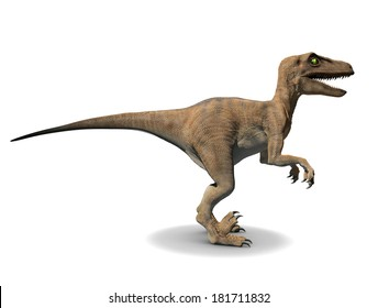 3d side view render of a velociraptor
