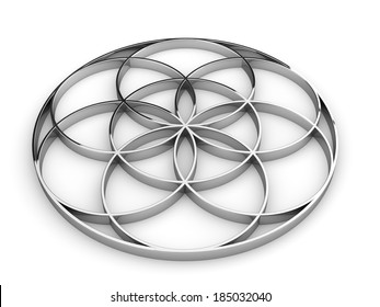 3D sign seed of life silver 1