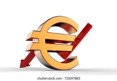 3d Sign and symbol of euro with red downwards growth arrow on white background, economic crisis and economic recession concept. 3d render illustration.