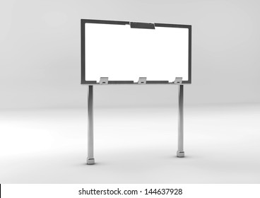 3d Sign white on gray background