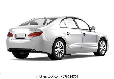 3D Silver Car Rear View