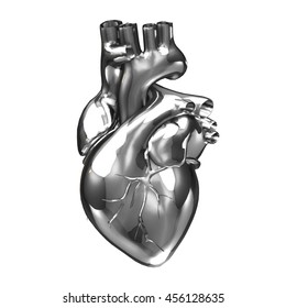 3D silver hearts render isolated white backgrounds