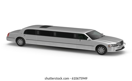 3d silver limousine isolated on white side view