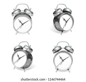 3d silver metal alarm range four set