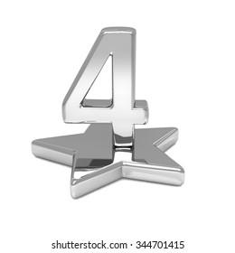 3d silver number 4 four star metal podium
