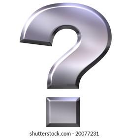 3d silver question mark
