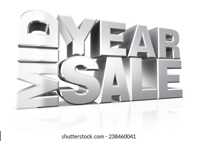 3D silver text mid year sale on white background with reflection.