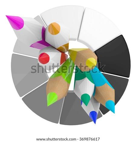 3 D Simple Colour Pencil Color Wheel Stock Illustration 369876617