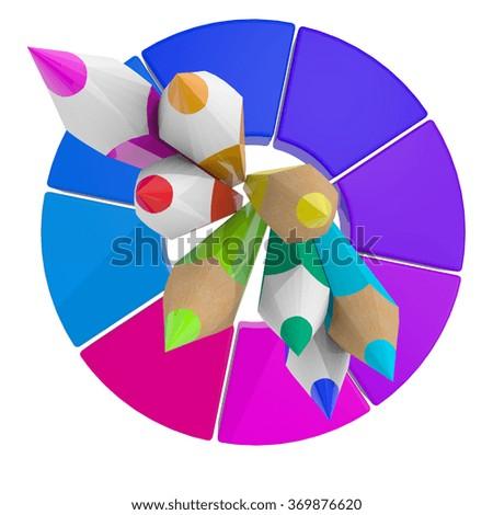 3 D Simple Colour Pencil Color Wheel Stock Illustration 369876620