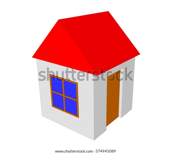 3d Simple House Model Isolated On Stock Illustration 374945089
