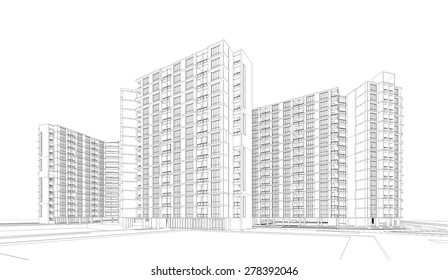 3D sketch of Modern building.