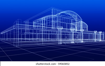 3D sketch of office building