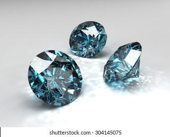 3D sky blue diamonds with caustic.