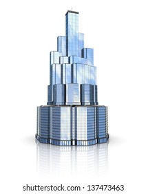 3d skyscraper model over white background