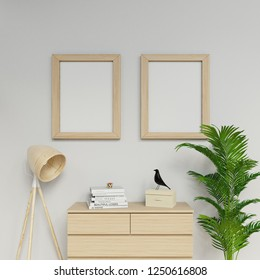 3d sleek rendering of contemporary apartment interior two a2 size empty poster mock up with light wood frame hanging vertically on the clean grey wall in family area in front view