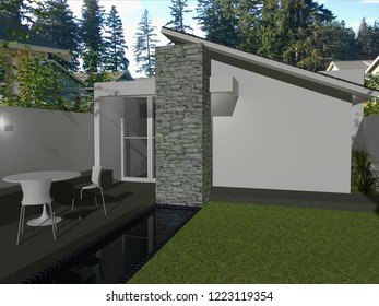 3D of a small house with a small pool on the backyard.