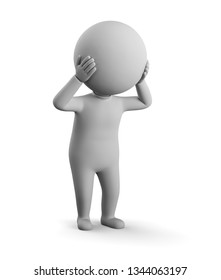 3D small man - stress. 3d image. White background.
