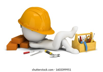 3d small people - builder sleeps in the workplace. 3d image. White background.