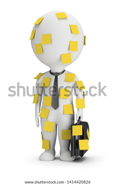 3d small people - businessman stands pasted in stick notes. 3d image. White background.