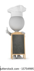 3d small people - cook stands next to the menu board and shows a thumb up. 3d image. White background.