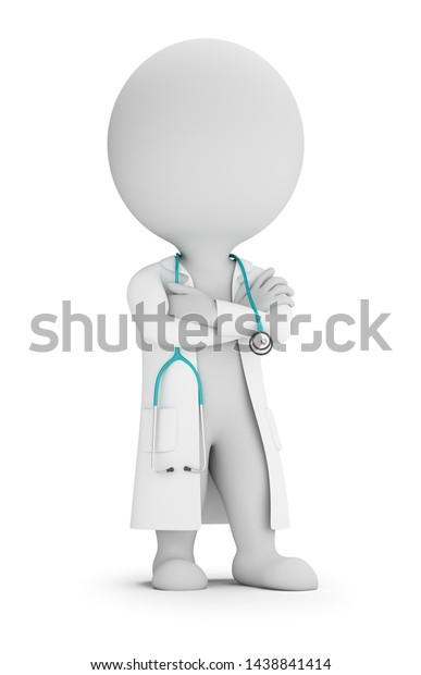 3d small people - doctor in lab coat and with stethoscope. 3d image. White background.