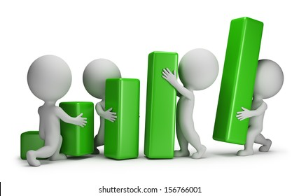 3d small people - group of people putting blocks Statistics. 3d image. White background.