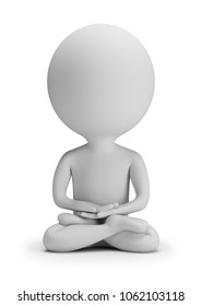3d small people meditating. 3d image. White background.