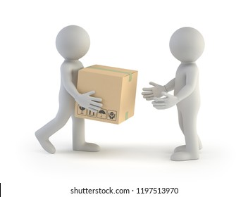 3d small people - parcel delivery, Isolated white background
