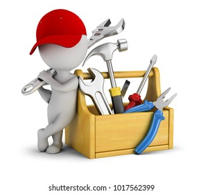 3d small people - repairman near the toolbox. 3d image. White background.