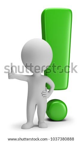 3d small people shows thumb up against exclamation mark background. 3d image. White background.
