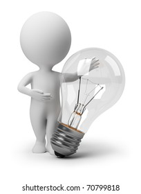 3d small people specifying in the big bulb. 3d image. Isolated white background.