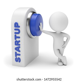 3d small people - starting business. Pressing blue button on control board. 3d rendering. Isolated on white background.