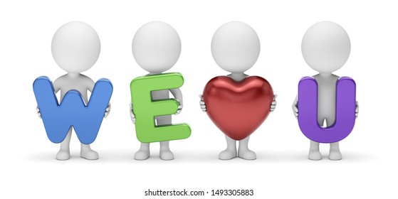 3d small people - team of four cute cartoon guys composing stylized phrase we love you with letters and red heart shape in hands standing in front view. 3d rendering. Isolated on white background.