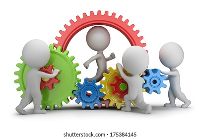 3d small people - team twisting multicolored gears. 3d image. White background.